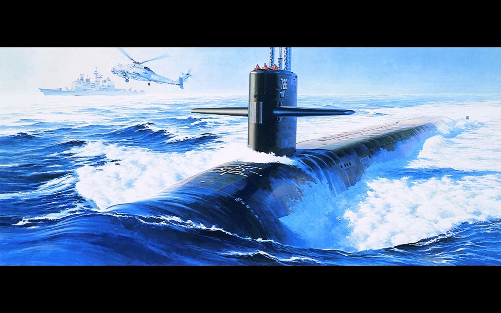 подводная лодка акварель