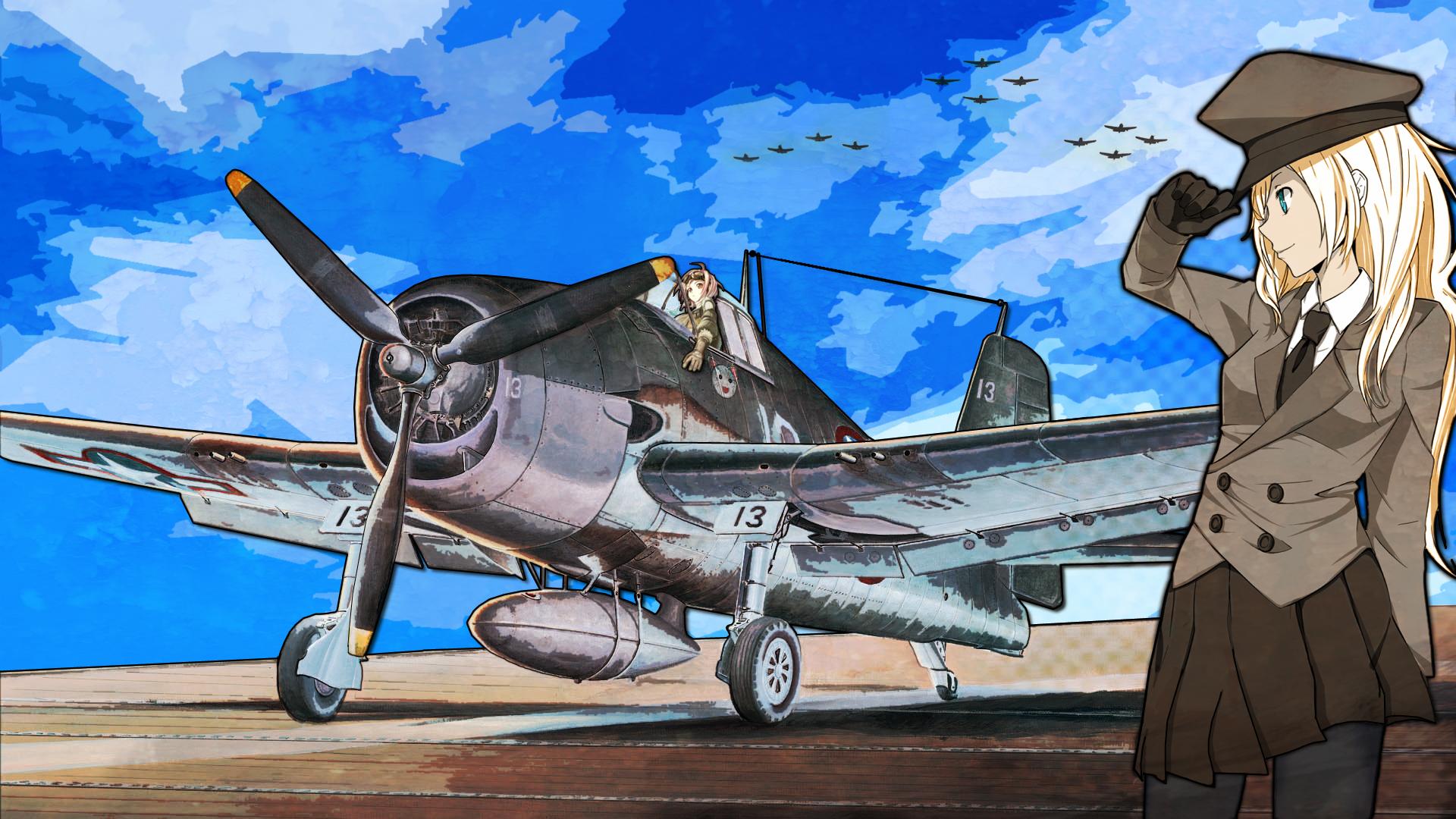 Аниме девушка и самолет картинка